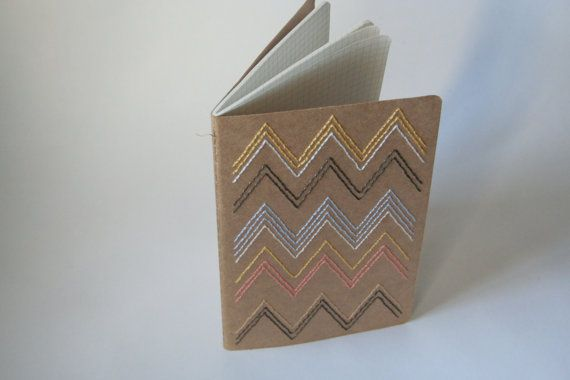 Missoni Inspired Chevron Stitched Large Moleskine Grid Paper