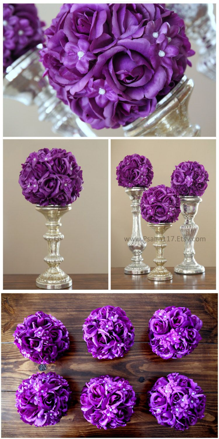 Inch wide rose and pearl wedding pomander balls plum