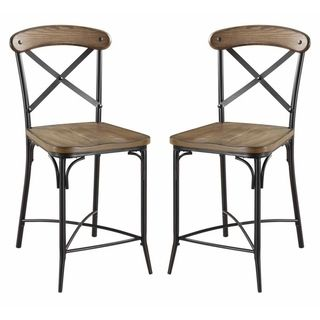 Olympia Cross Back Design Two Tone Counter Height Dining Stool
