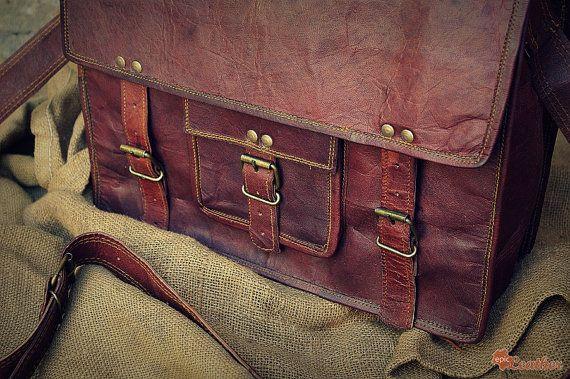 Leather Messenger Bag / Air Plane Cabin Bag / Briefcase / Handbag / Satchel / Shoulder Bag / iPad / Hip Bag