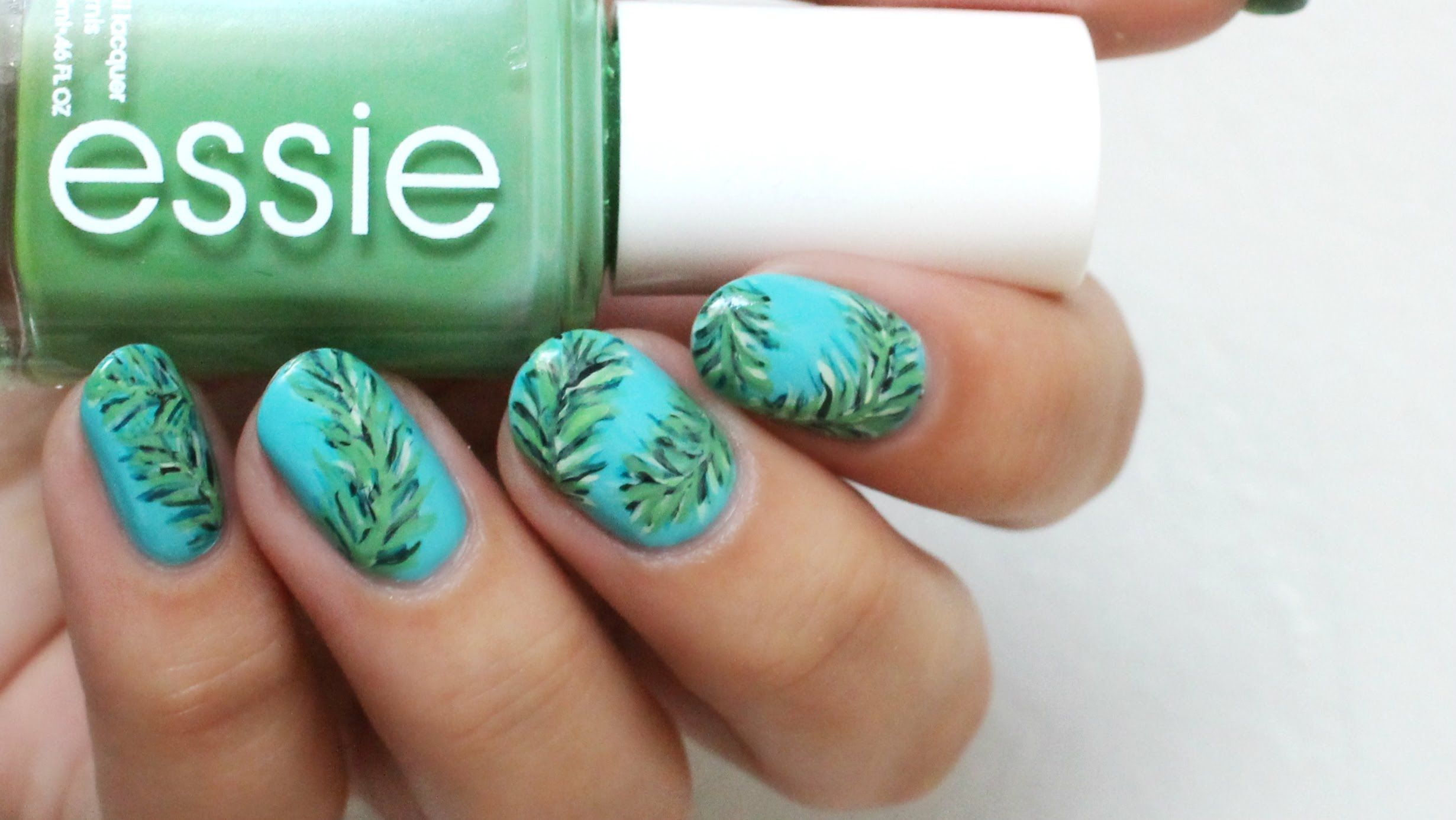 Easy Summer Palm Leaf Nail Art | Nails | Pinterest | Palm, Leaves ...