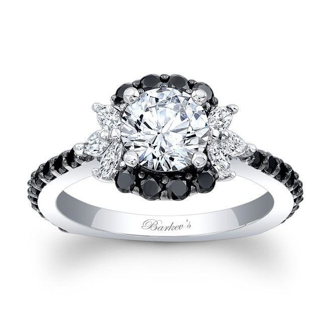 black diamond engagement ring 7930lbkw - Wedding Rings With Black Diamonds