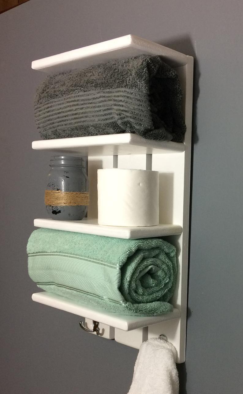 White Coastal Towel Rack With Hooks Bathroom Shelf With Hooks Rolled Towel Rack Solid White Wall Shelf For Towels Bathroom Towel In 2020 White Wall Shelves Bathroom Shelves For Towels Wall Shelves