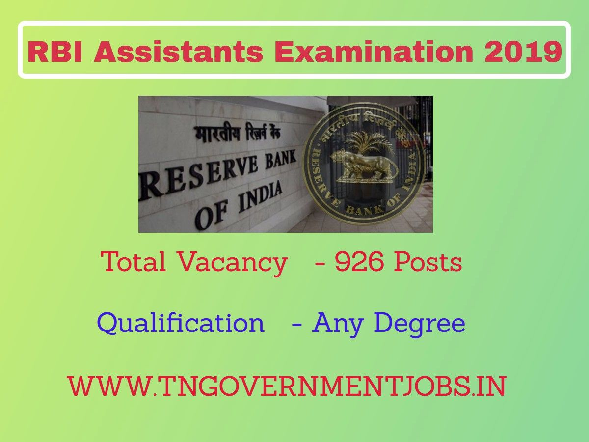 Reserve Bank of India (RBI) Recruitment 926 Assistant