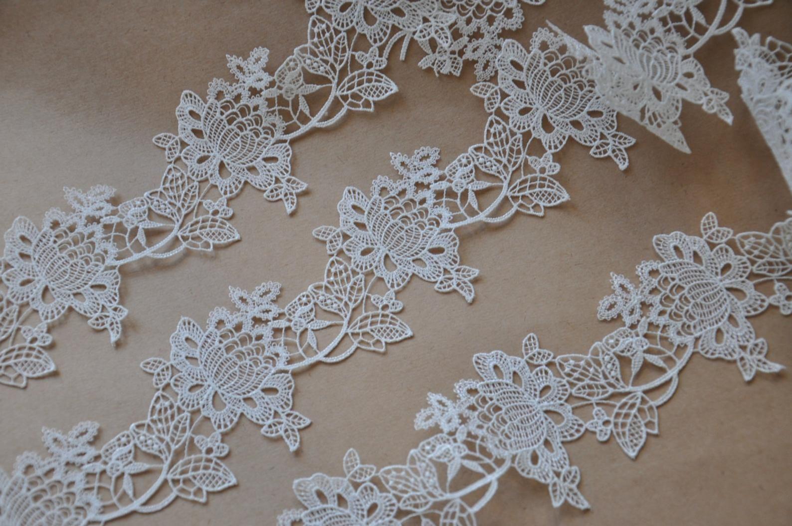 off White Lace Trim, venise lace trim, vintage lace, super exquisite lace trim, retro floral lace tirm DG023