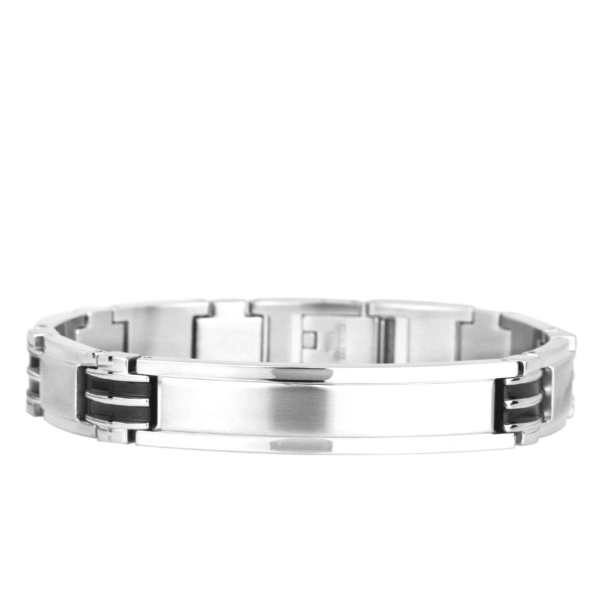 Aretha l stainless steel mm mens silver black inch power
