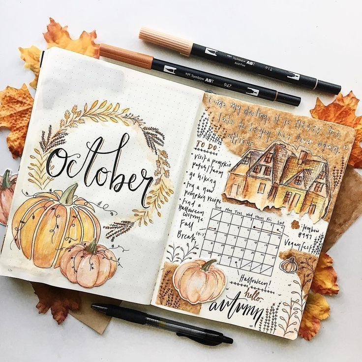 Fall Bullet Journal Cover Page Ideas | Heraldeecreates