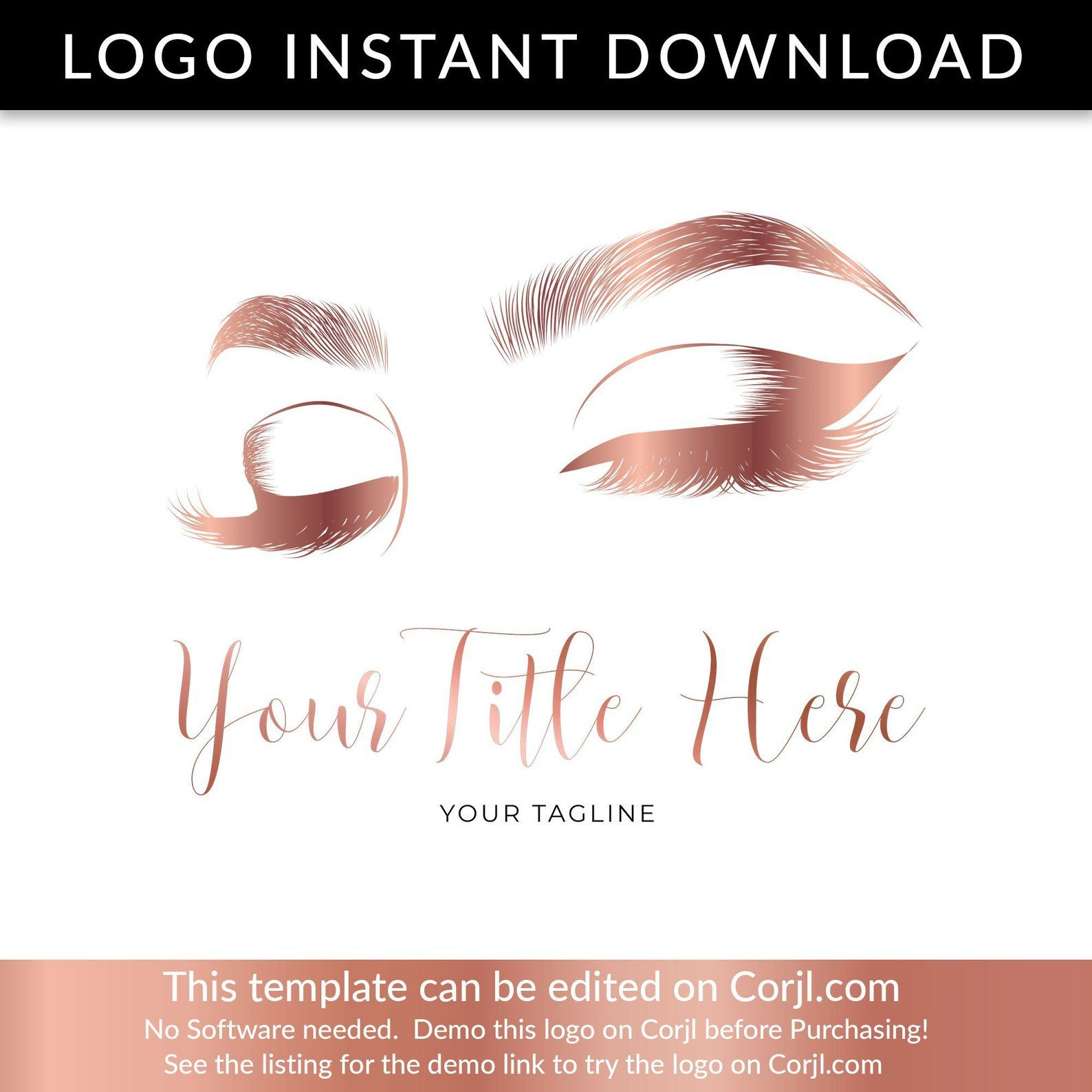 LASH LOGO DESIGN, Eyelash Logo, Rose Gold Lash Logo