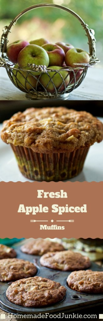 Fresh Apple Spice Muffins. Make these incredible muffins from scratch with real apples, walnuts and fresh ginger. No boxed mixes compare to these. Great for breakfast, snacks and grab food anytime! HomemadeFoodJunkie.com