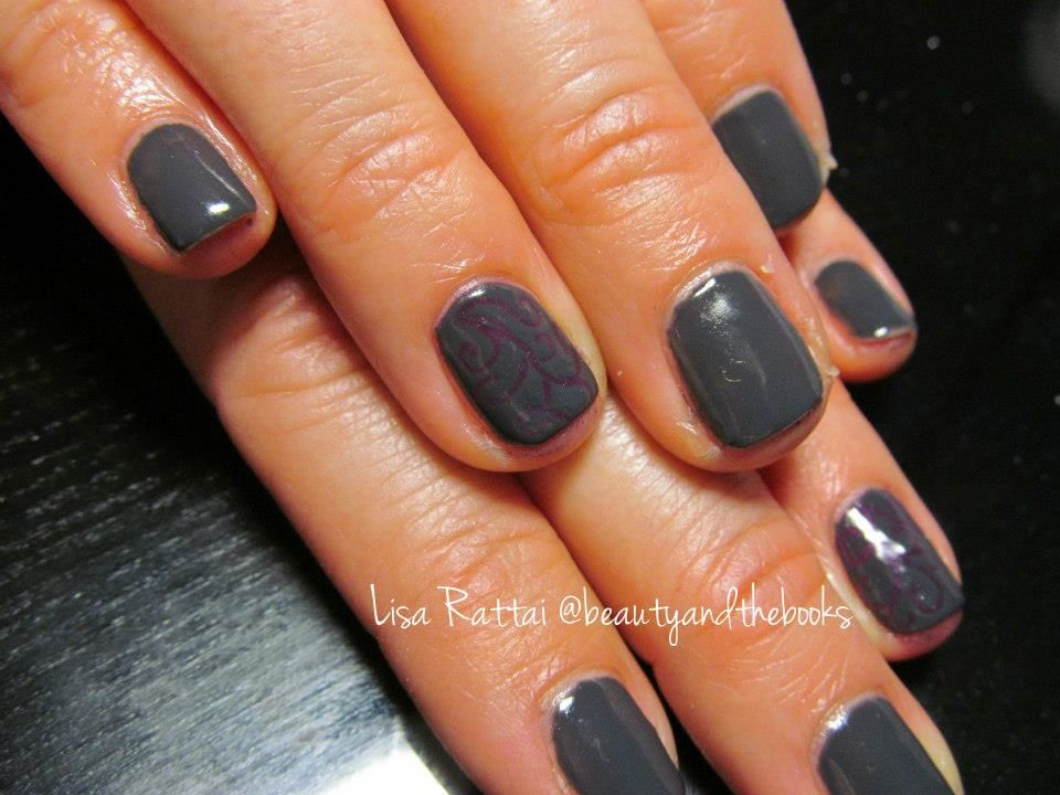 Asphalt Shellac with an etched accent nail. The etching is done with ...