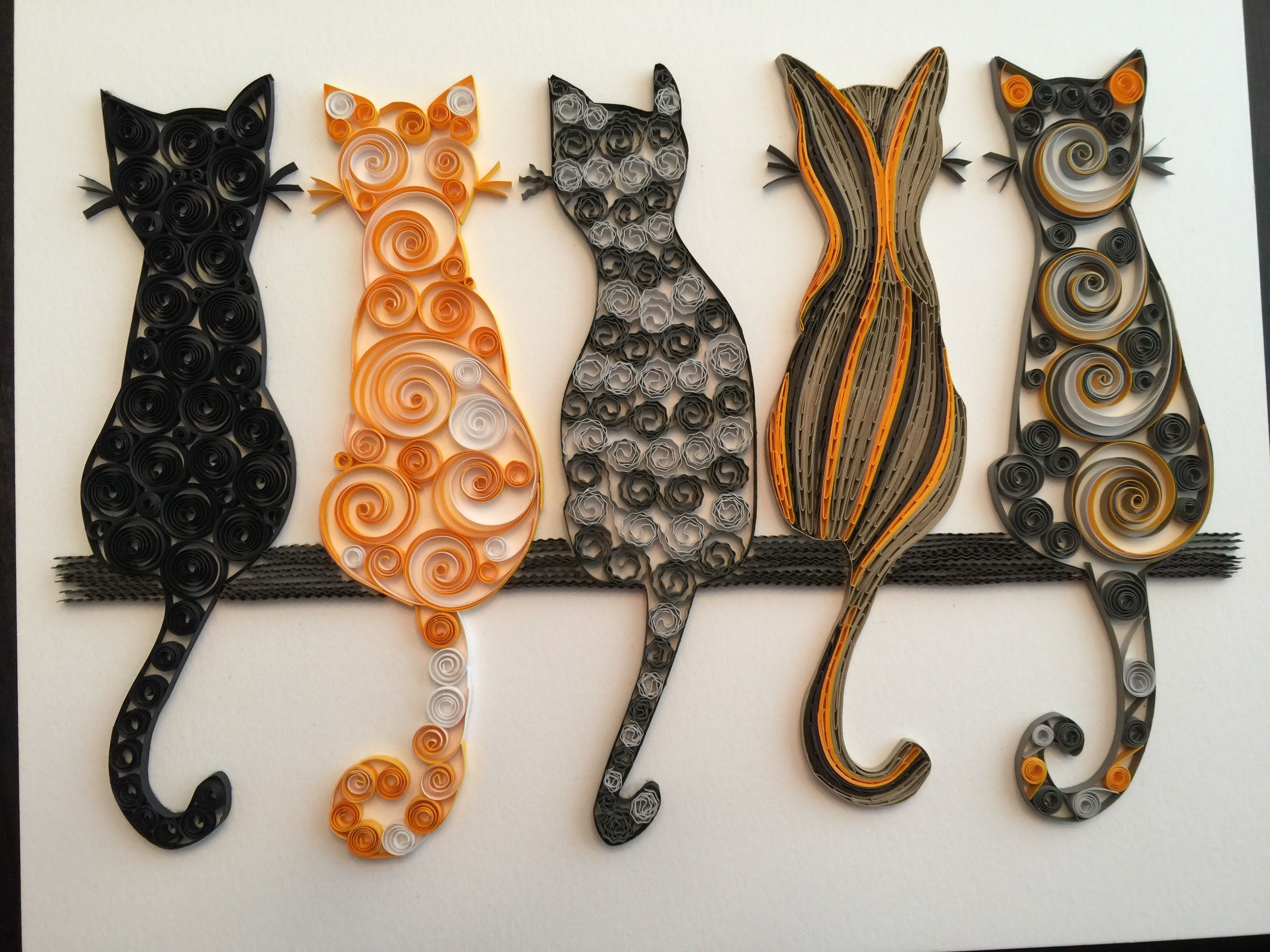 quilled cats quilling pinterest paperolles chats et creatif. Black Bedroom Furniture Sets. Home Design Ideas