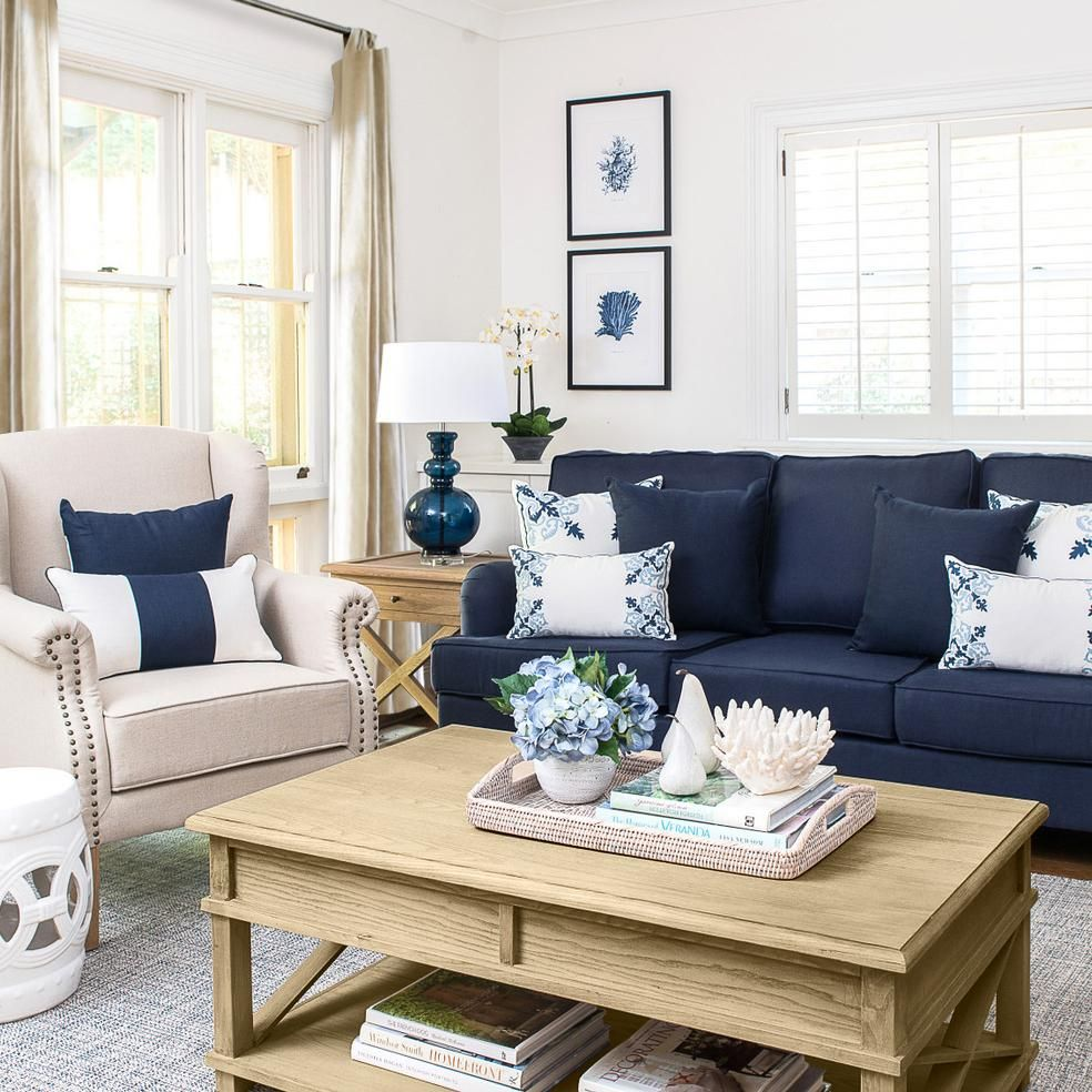 10+ Amazing Navy Living Room Furniture