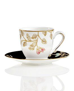 Espresso Cup and Saucer. Has black saucer. 3oz cup, 4-3/4\