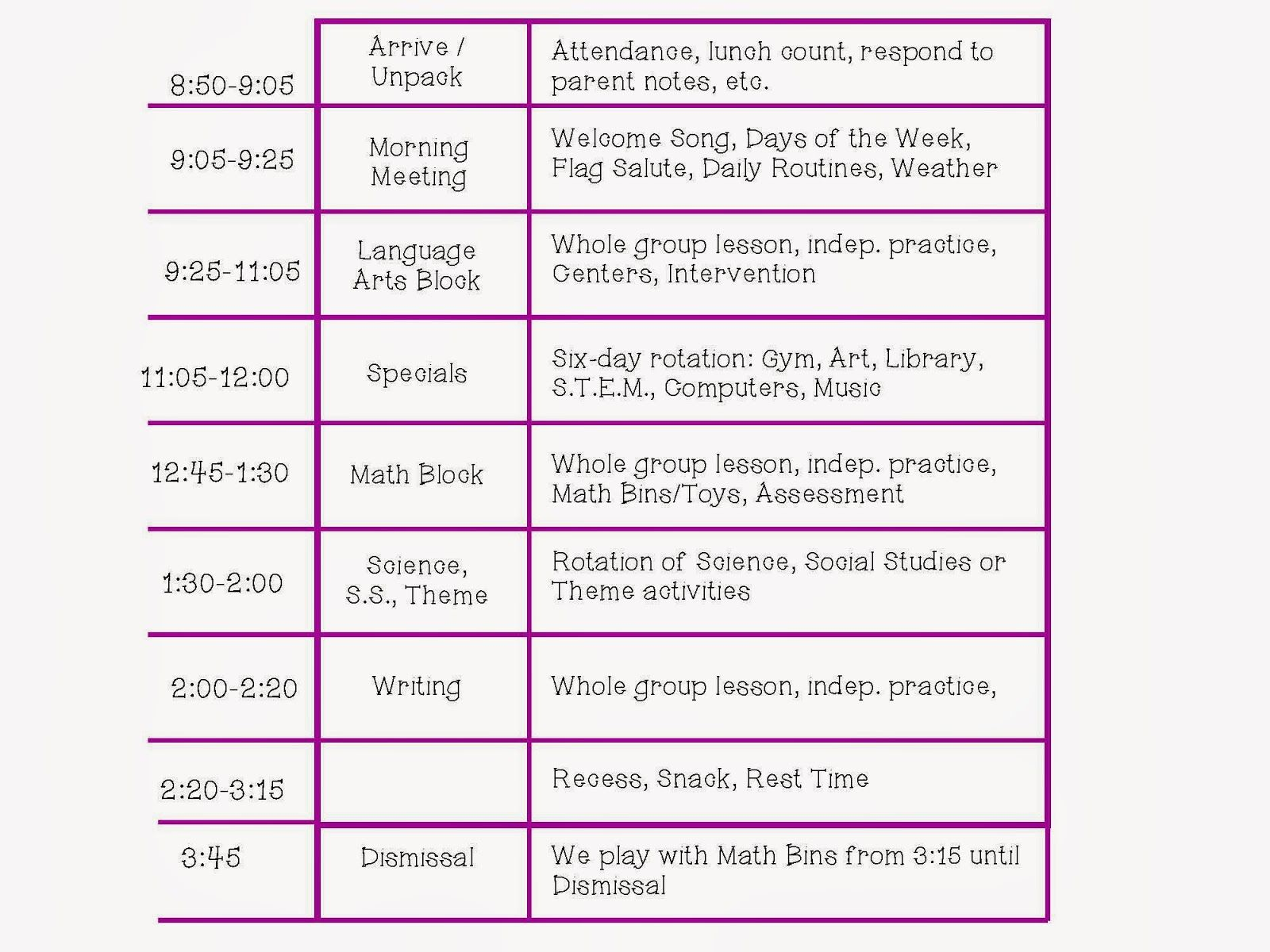 Kindergarten Class Schedule Daily Schedule Interactive Writing