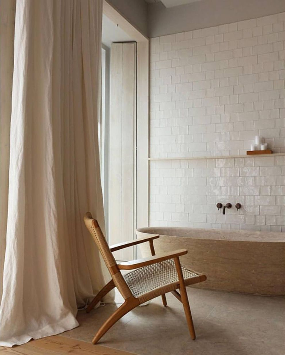 Relaxing space in the bathroom. Complete with arm chair   Home Sweet ...