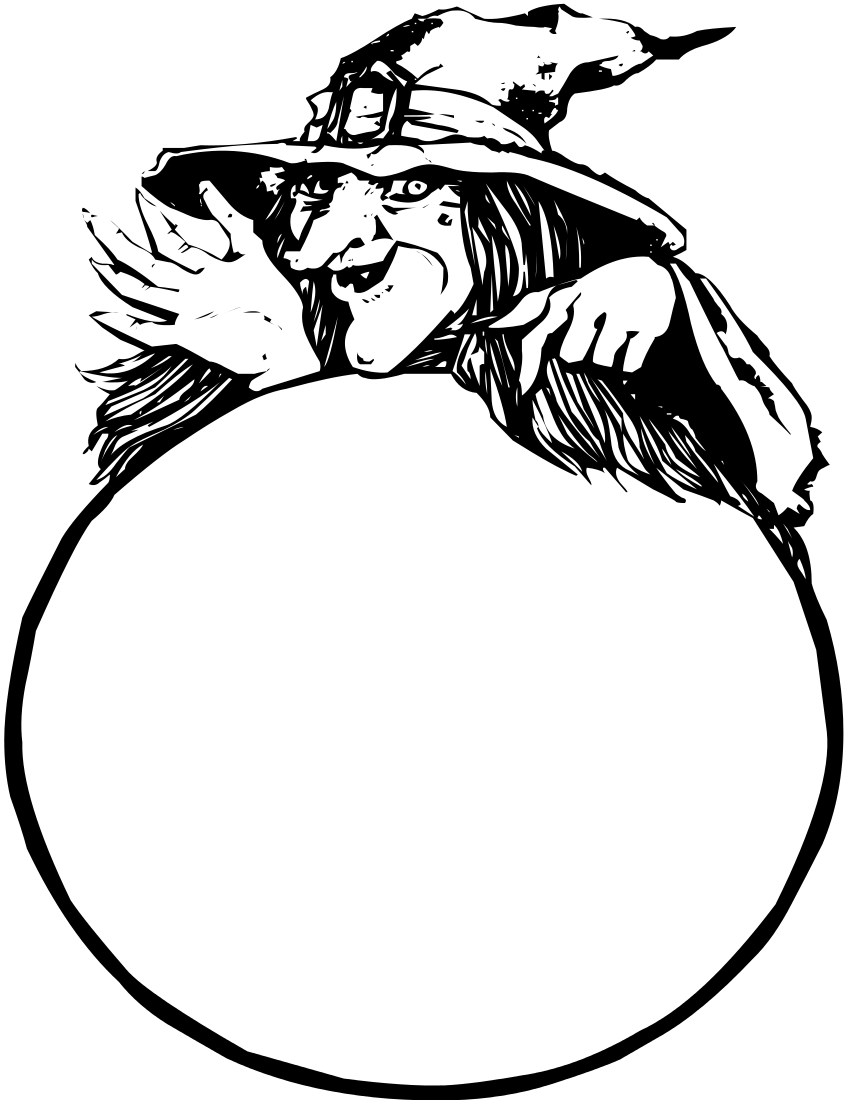Witch With Crystal Ball Page Witch Crystal Ball Crystal Ball Public Domain Clip Art