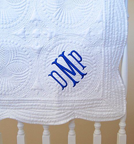 Monogram baby quilt new baby gift baptism gift personalized monogram baby quilt new baby gift baptism gift personalized baby blanket white negle Images