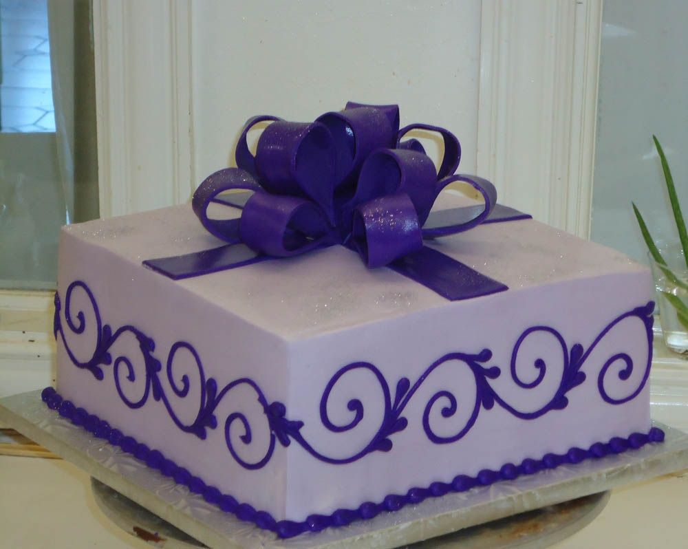 Simple Purple Bow Cake By Delicious Cakes By Delicious Cakes