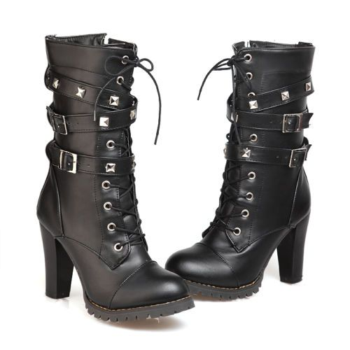 0a20e18ceb7 Sexy-Women-combat-boot-High-Heels-military-Knight-Buckle-Lace-up-Shoes-Size