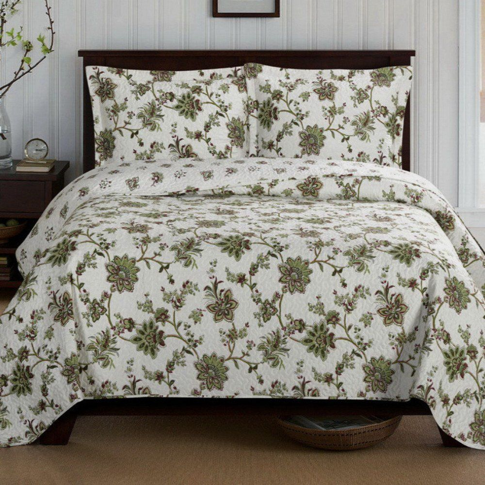 Country Cottage Green Floral Quilt Coverlet Set Oversized
