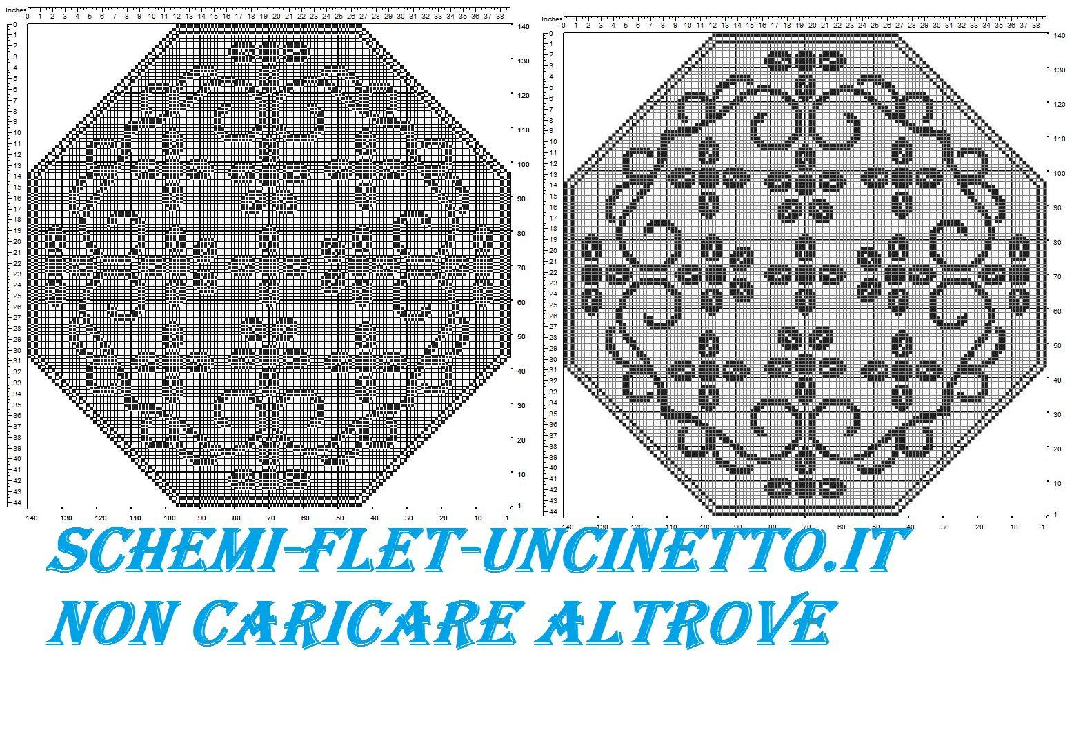 Centro ottagonale schema filet uncinetto gratis centri e for Lavori a filet schemi gratis