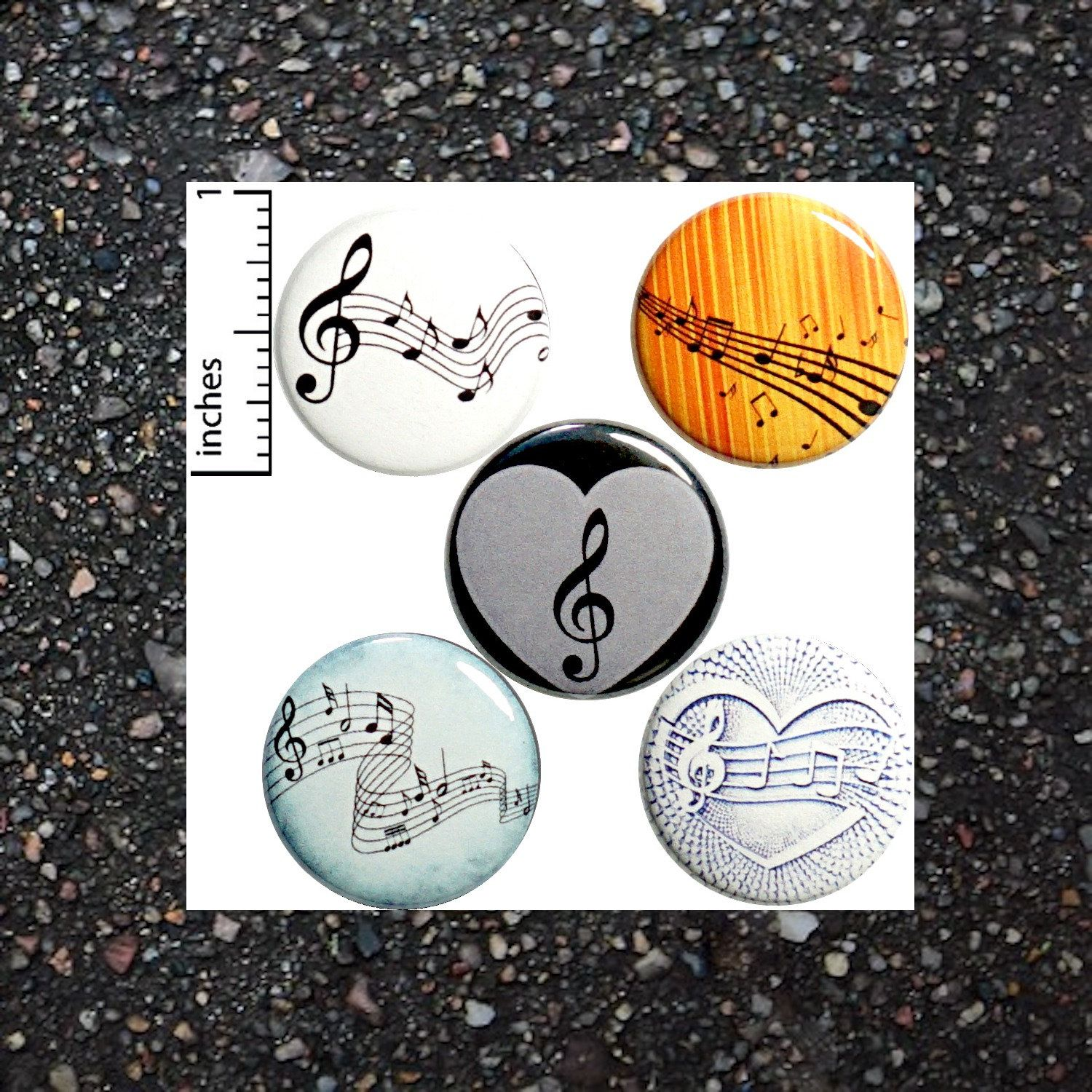 Music Buttons For Backpacks Pins Badges Pinbacks Or Fridge Magnets Sheet Music Classical Notes 1 Inch 5 Pack Gift Set P2 In 2020 Music Buttons Backpack Pins Pin Badges