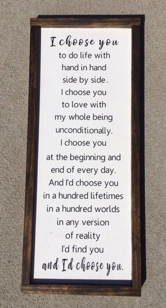 I'd Choose You Sign Wedding Gift Anniversary Gift