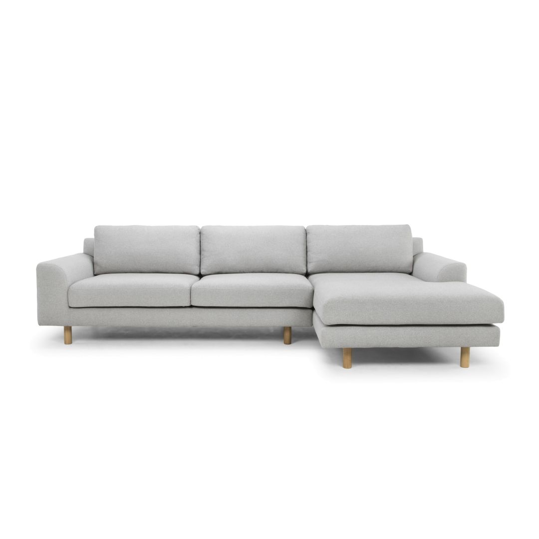 Sonia 3 Seater Right Chaise Fabric Sofa Stone Grey Interior Secrets Fabric Sofa Sofa Chaise Sofa