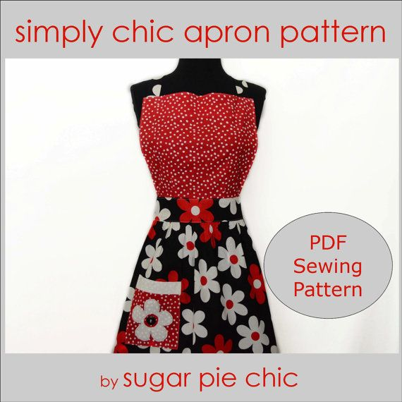 APRON SEWING Pattern PDF Woman\'s Full Apron Tutorial - Simply Chic ...