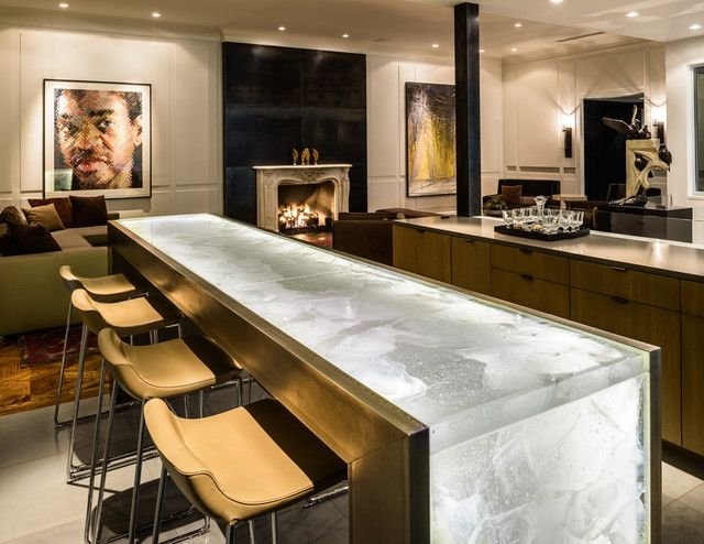 Fun Lit Onyx Bar Or Communal Table Concept Countertop Design Contemporary Kitchen Waterfall Countertop