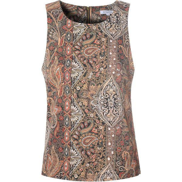 Multicolour Morris Print Vest Top (3455 RSD) ❤ liked on Polyvore featuring tops, multi, print top, colorful tank tops, colorful tops, brown sleeveless top and brown tank top