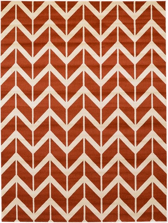 Rust Red X Chevron Rug