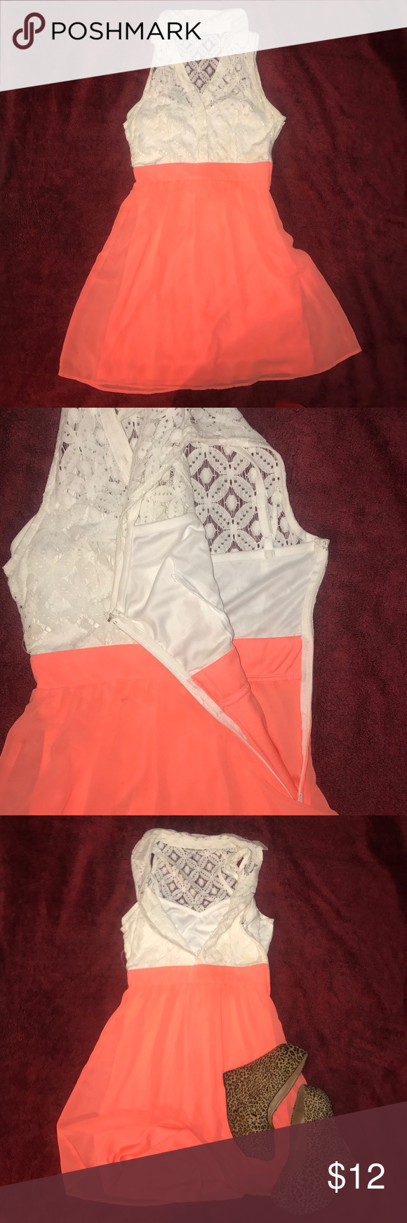 💕Cute Coral Lace Top Dress Super Cute Coral Dress attached Lace top with 3 button detail. Side hidden working zipper with clasp at end. Love this color! Charlotte Russe Dresses Midi