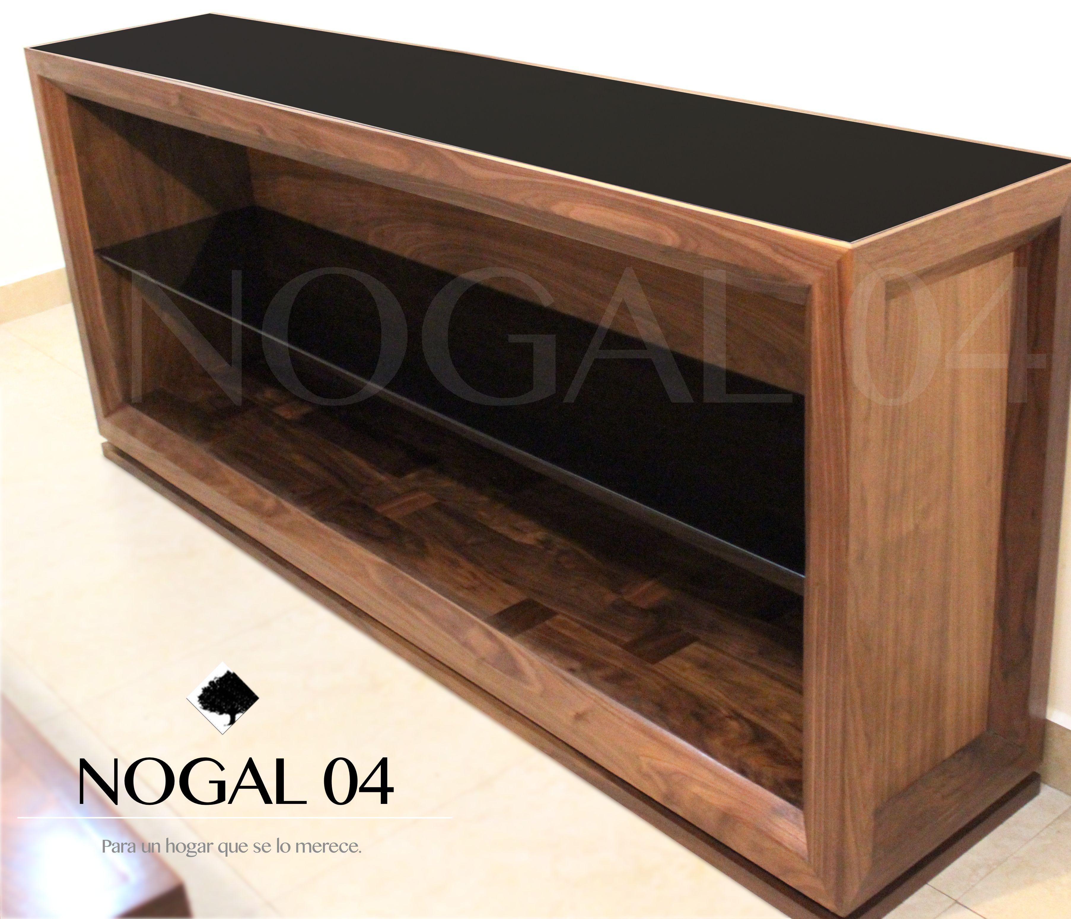 Credenza de madera s lida de nogal con vidrio templado for Muebles de comedor en vidrio
