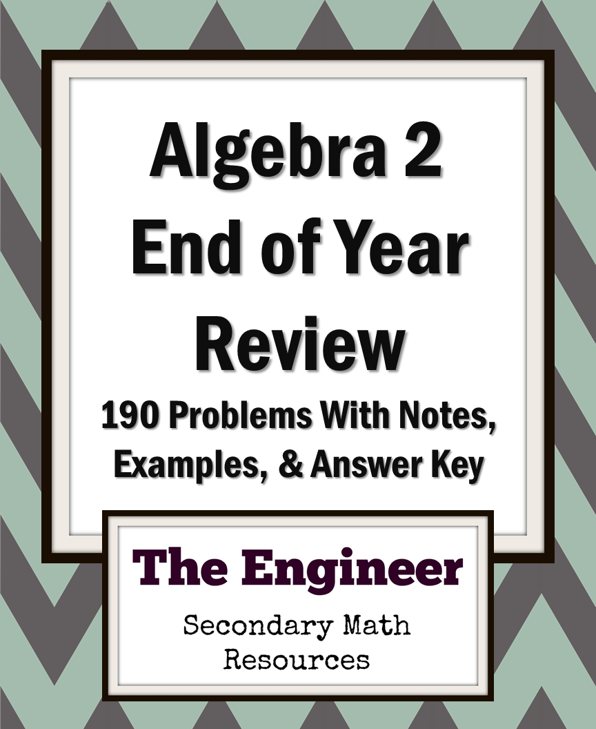 End of Year Review Packet for Algebra 2 | TpT Math Lessons