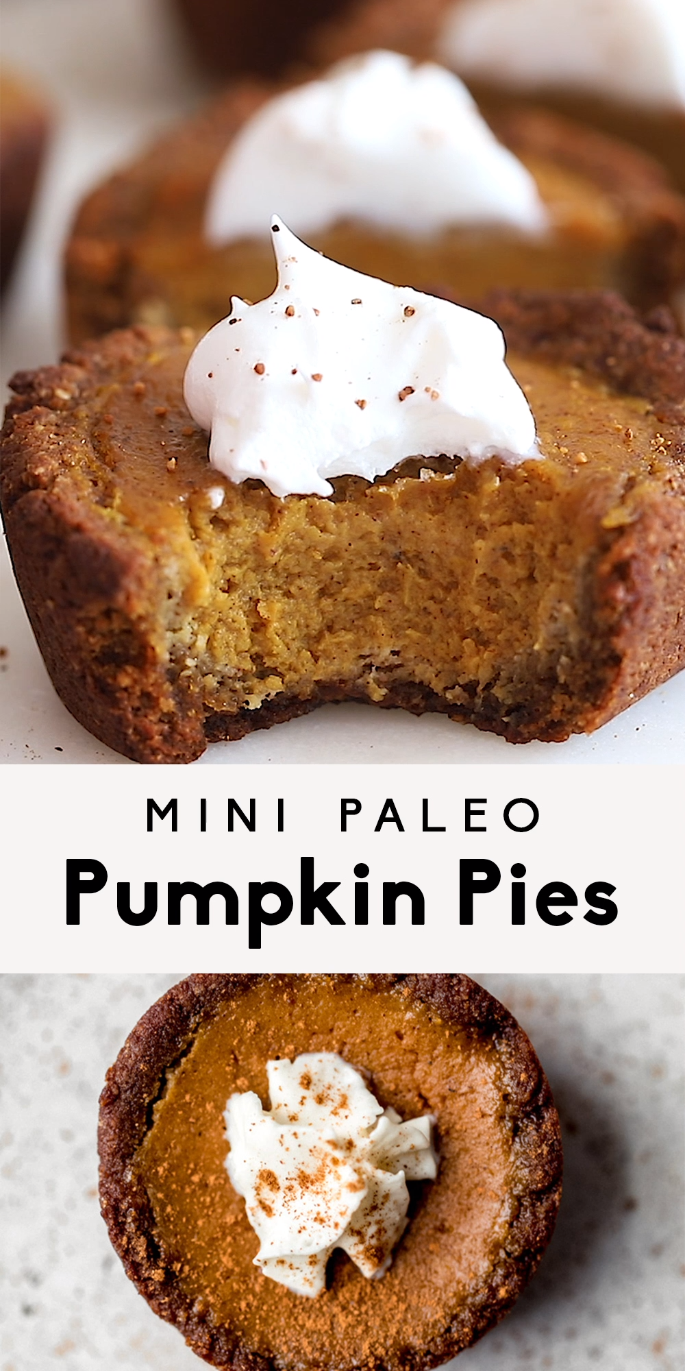 Adorable paleo healthy mini pumpkin pies with gingerbread cookie crust. These gluten free and dairy free mini pumpkin pies are naturally sweetened, super cute and seriously delicious! Perfect for the holiday season. #pumpkinpie #pumpkinrecipes #thanksgiving #paleo #paleodessert #glutenfree #glutenfreedessert