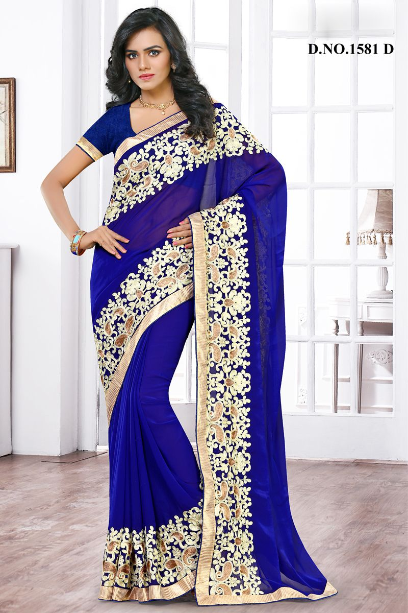 Blue Designer Party Wear Saree With Embroidary Work Varsiddhi ...