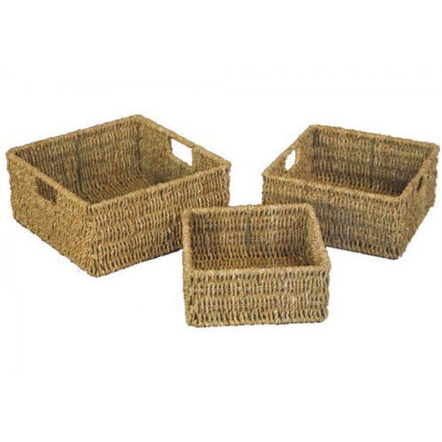 Set of 3 Square Seagrass Wicker Storage Baskets   Cherry Dene ...