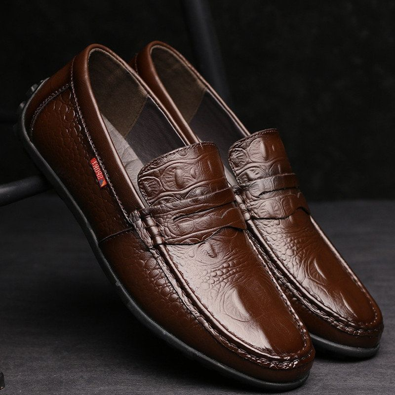Men's Slip-On Crocodile Pattern Leather Penny Loafers Driving Shoes