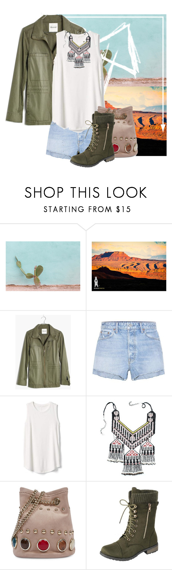 """Desert Bound"" by ebeb1233 ❤ liked on Polyvore featuring Madewell, GRLFRND, Gap, Vintage and Nine West"