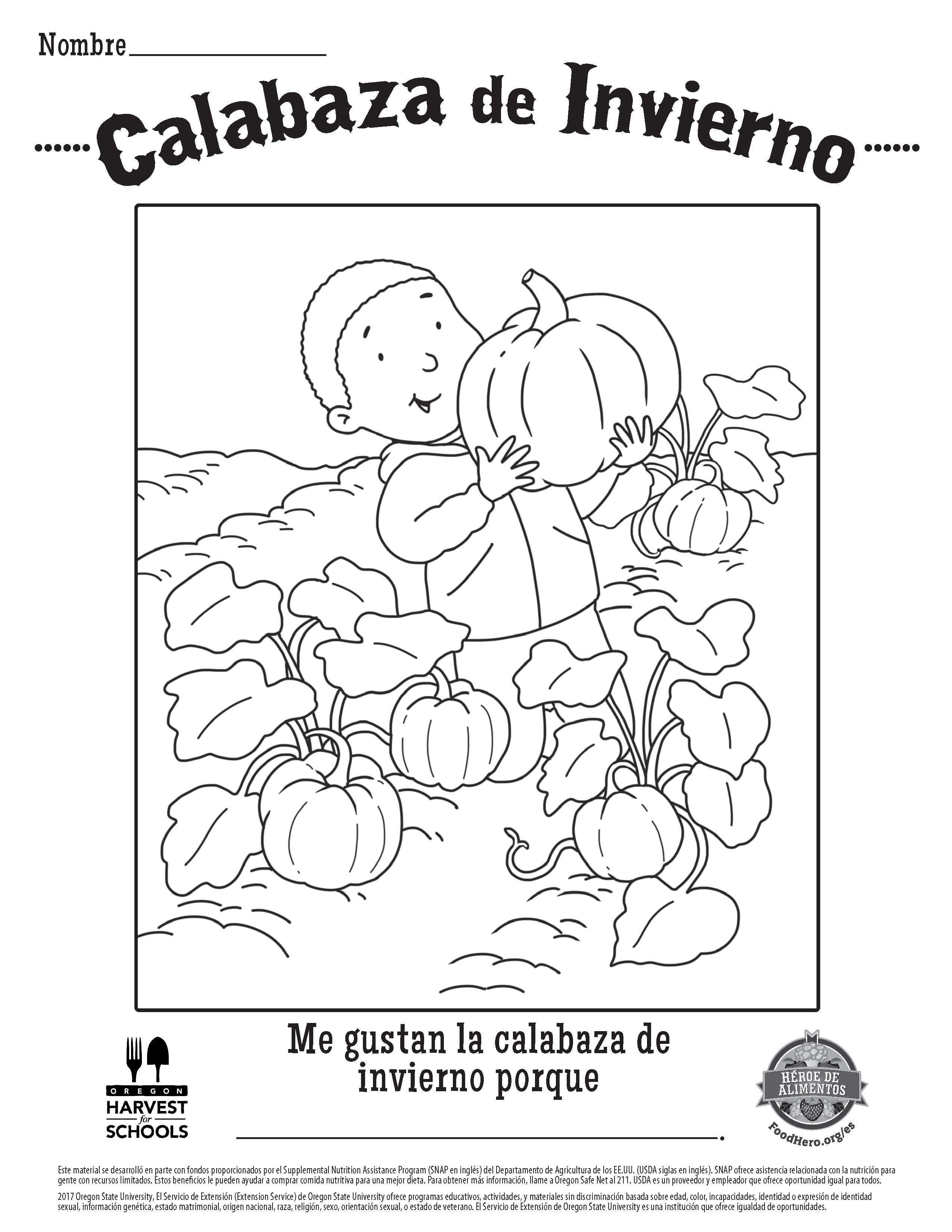 Food Hero Winter Squash Free Printable Children S Coloring