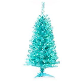 4 pre lit artificial christmas tree blue tinsel and blue lights biglots - Big Lots White Christmas Tree
