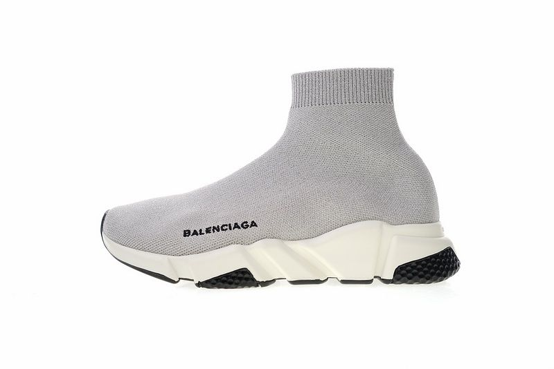 2ae07408520c7 Balenciaga Speed stretch knit Mid sneakers Grey White 49371 WO