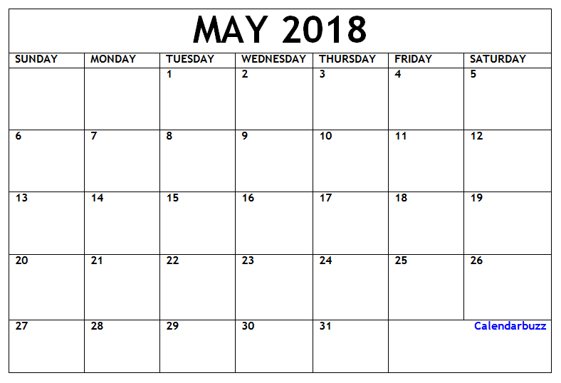 may 2018 printable calendar word