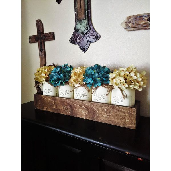 Rustic Decor Mason Jar Wood Tray With 5 Quart Mason Jars Rustic... ($65) ❤ liked on Polyvore featuring home, home decor, small item storage, grey, home & living, home décor, bloom box, painted wooden box, wooden planters and flower box