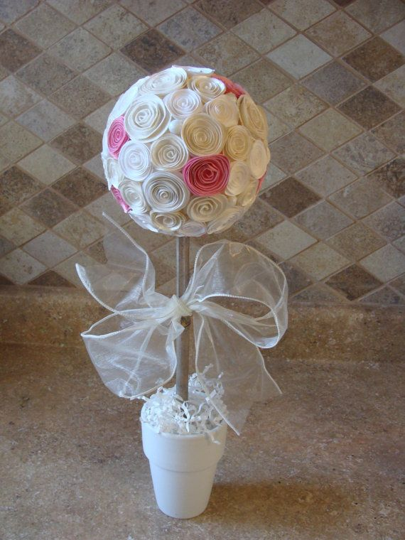 Off white and pink rose flower topiary for any