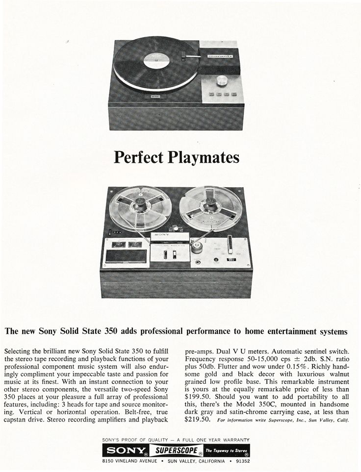 1967 Ad For The Sony Superscope Tc 350 Reel To Reel Tape Deck In
