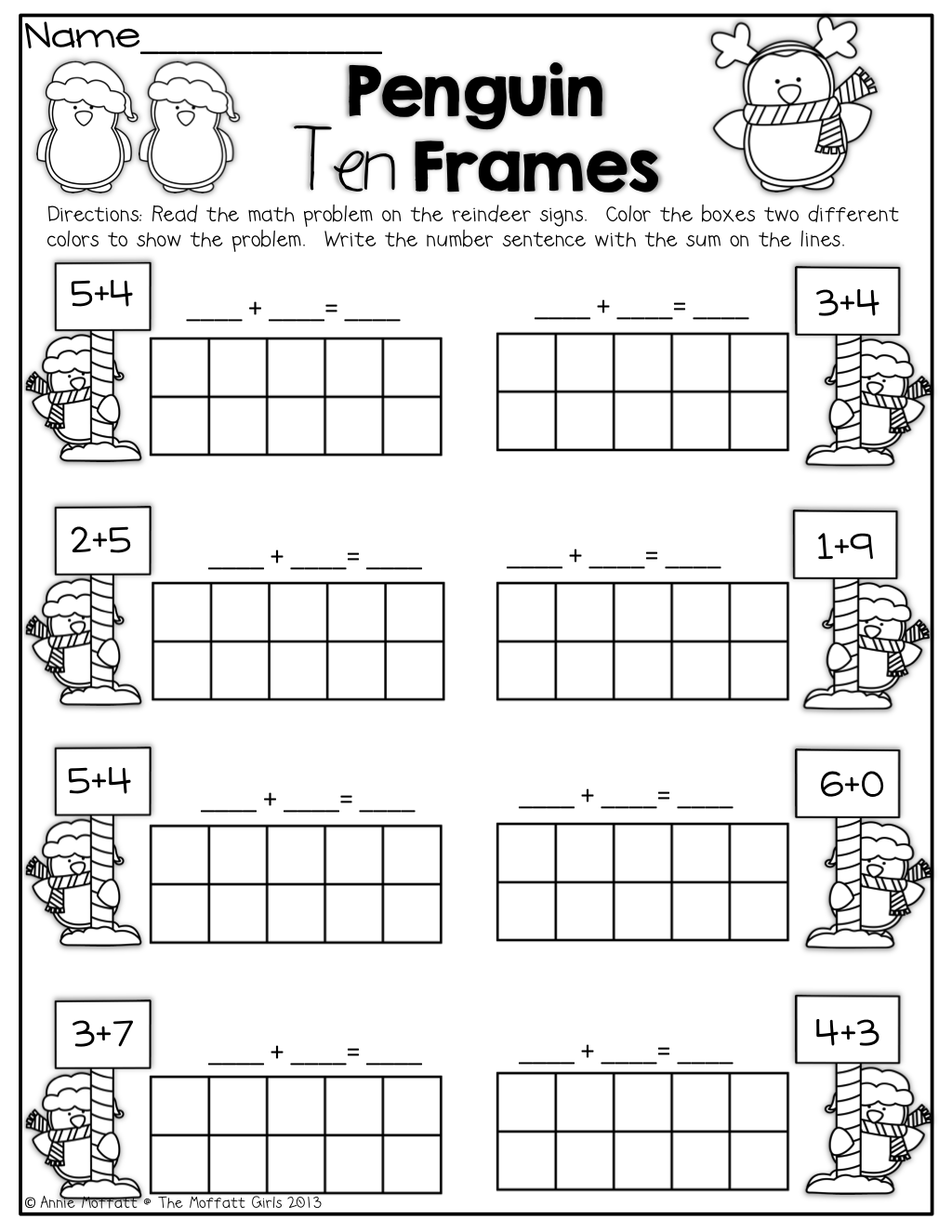 worksheet Penguin Worksheets penguin 10 frames kinderland collaborative pinterest penguins frames