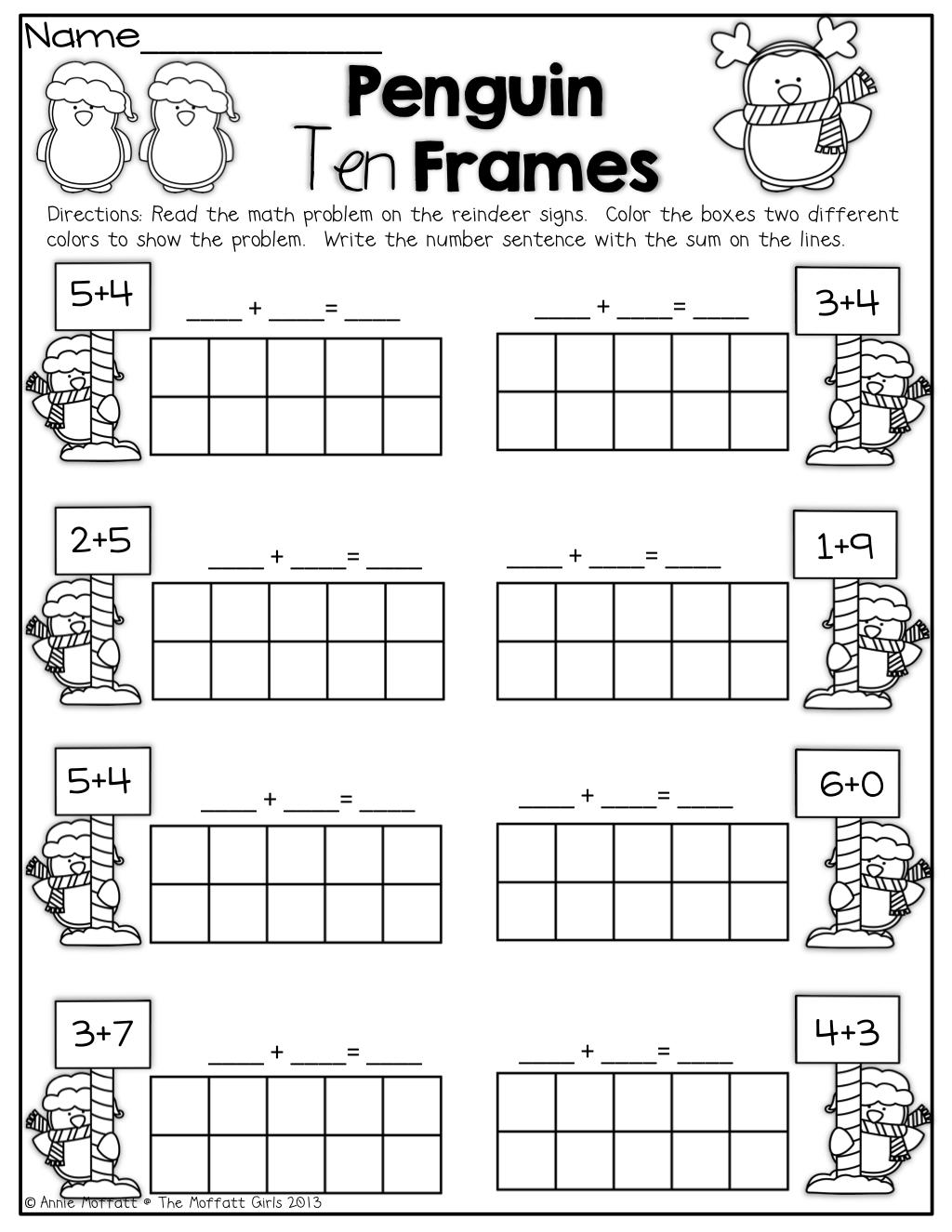 Penguin 10 Frames!   Math addition [ 1325 x 1024 Pixel ]