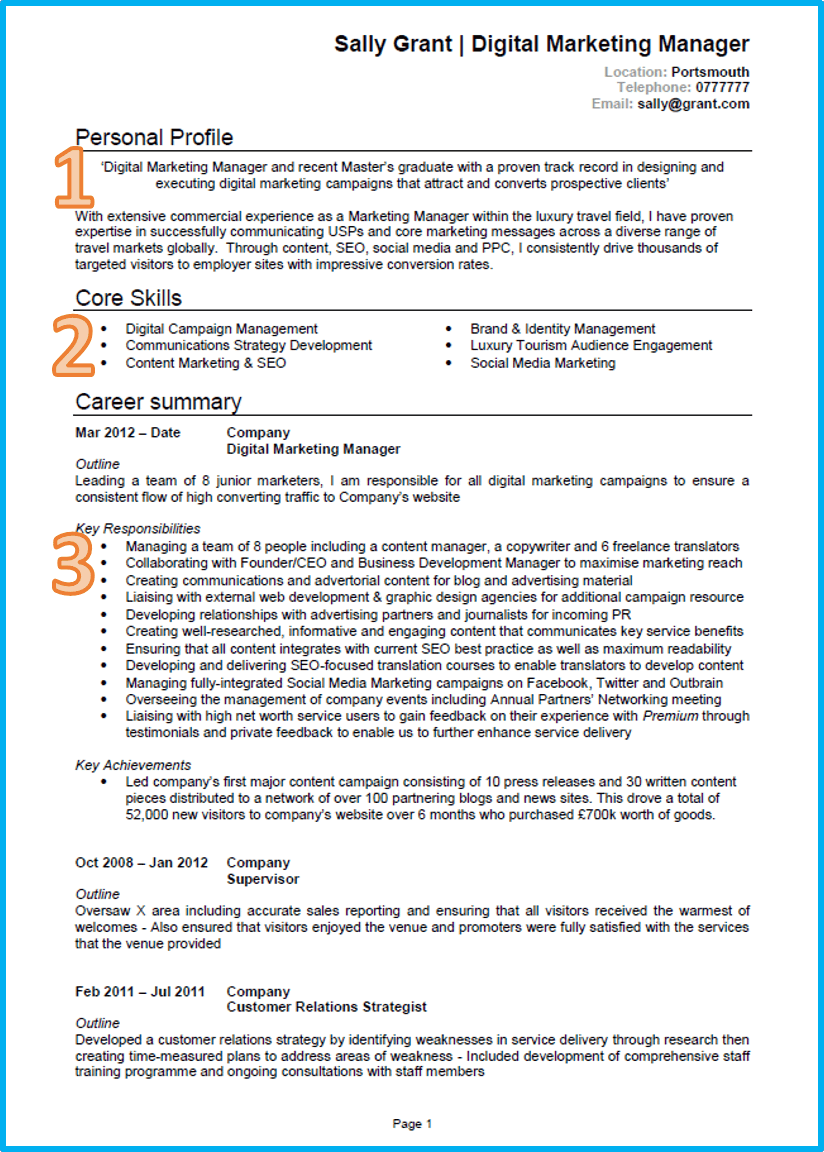 Marketing CV 1 Good cv, Resume format in word